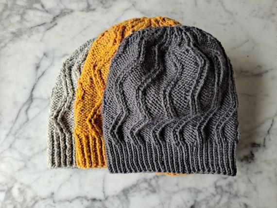 Aran cable beanie: handknit wool beanie. Beanie for him. Beanie for her. Made in Ireland. Original design. His & hers hats. Zig zag beanies.