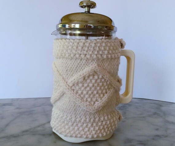 Cafetiere Cosy: Aran knit coffee pot cosy. Made in Ireland. French Press cozy. 8 cup coffee jug warmer. Gift for new home. Handknit cozy.