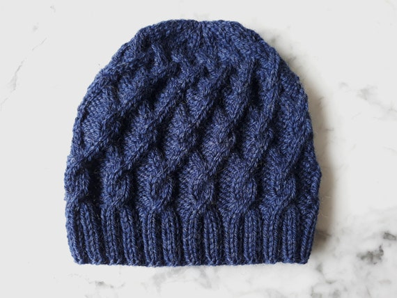 Handknit beanie: cable knit wool hat. Aran knit beanie. Beanie for him. Beanie for her. Made in Ireland. Original design. Men's navy beanie