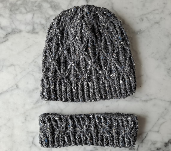 Aran beanie hat: handknit hat with neckwarmer. Luxury Irish yarn. Beanie for him. Beanie for her. Cable knit beanie. Chunky knit beanie set.