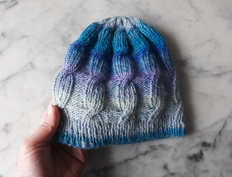 bb4e509bfe7 Cable knit beanie  handknit hat in acrylic yarn. Blue purple