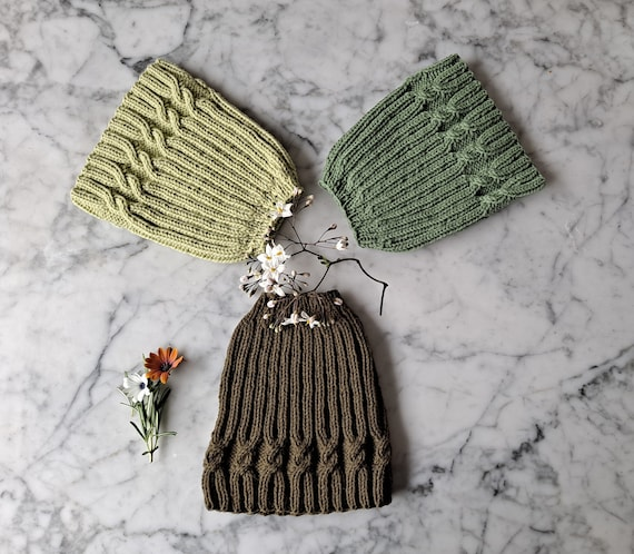 Knit messy bun hat: ponytail hats in 3 colours. Original design. Made in Ireland. Green messy bun hat. Beanie for her. Brown messy bun hat.