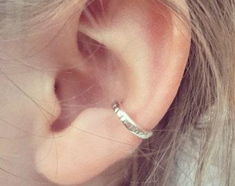 Ear Cuff Sterling Silver, Textured To Catch The Light, No Pierce Slip on Cuff, Boho Style Ear Cuff UK
