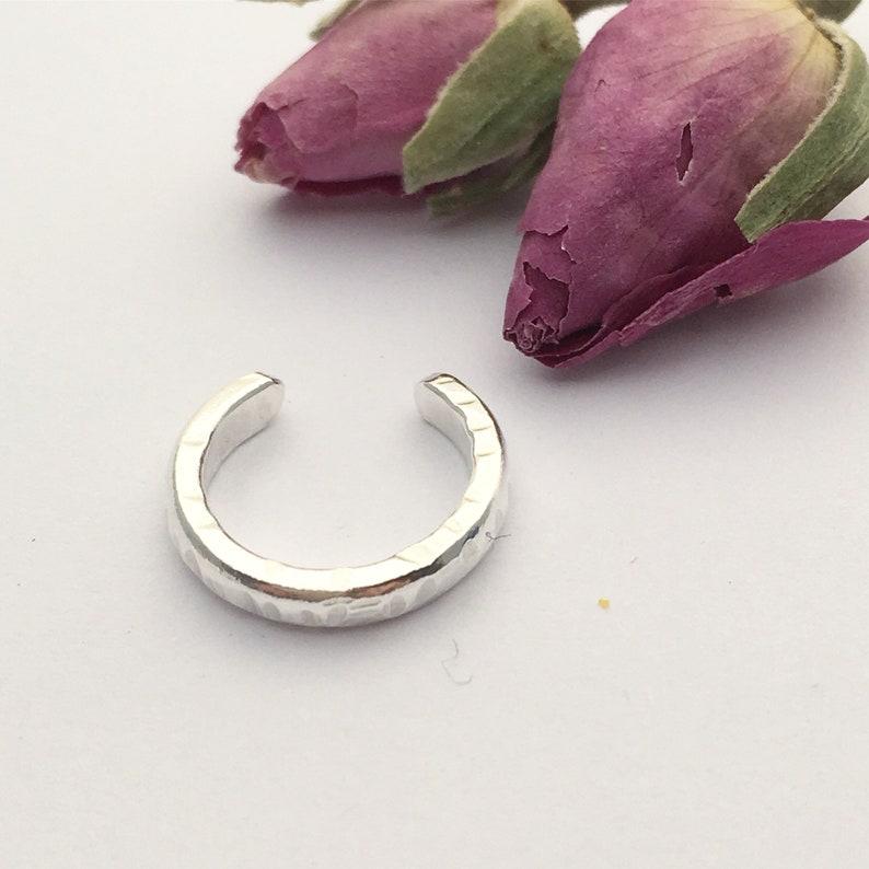 No Pierce Slip on Cuff Ear Cuff Sterling Silver Boho Style Ear Cuff Textured To Catch The Light