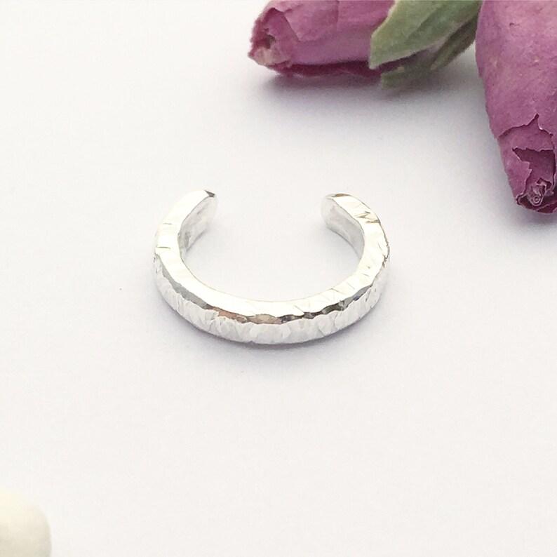 Boho Style Ear Cuff No Pierce Slip on Cuff Textured To Catch The Light Silver Ear Cuff