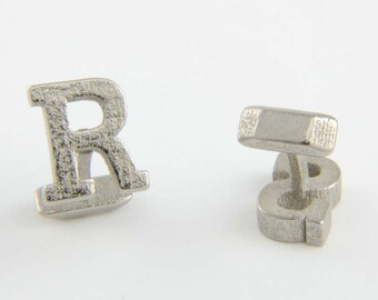 Monogram Cufflinks in stainless steel - nickel colour, Customized cufflinks, Custom Monogram Cufflinks, Fathers Day Gift, Groom cufflinks.