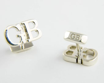 Custom Initial Cufflinks in Sterling Silver, Custom Cufflinks, Personalized groom cufflinks, Custom fathers day gift, Wedding cufflinks