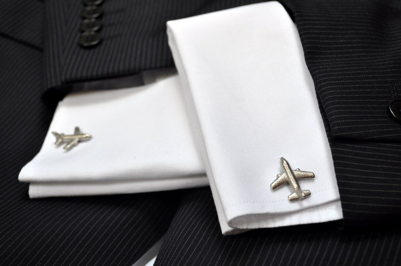 Airplane Cufflinks  Mens Cufflinks  3D Printed Cufflinks  Groomsmen Gift  Pilot Gift