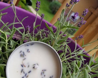 Lavender scented herbal soy candle