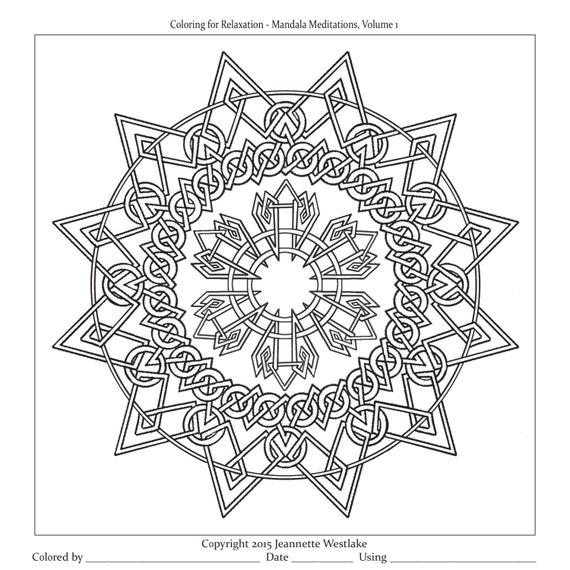 Mandala Meditations Interlaced Knotwork Coloring Pages Etsy