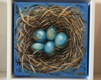 """Bluebird Nest 7""""x7"""" Oil Painting Framed"""