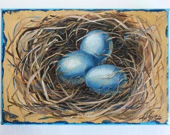 "Bluebird Nest 5""x7"" Oil Painting"