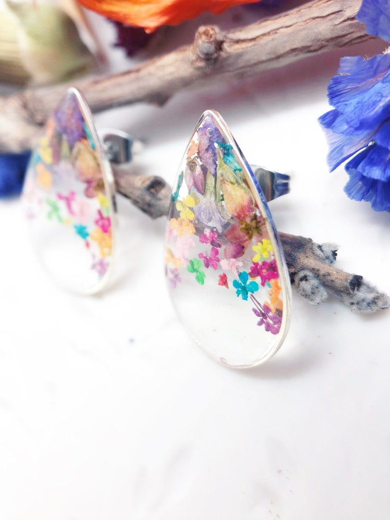 resin jewelry Women/'s earrings drop real flowers to dried lobe pressed into transparent resin Silver accessories Gift woman