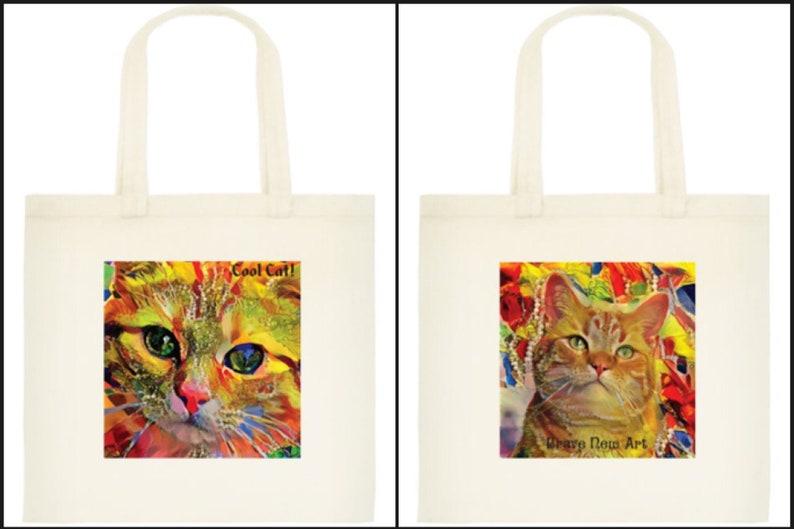 Cool Cat Eco Tote Bag Original art design Kitten Pussycat Environmentally friendly Natural Cotton