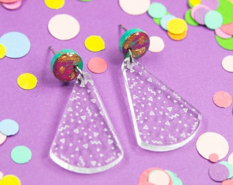 Funfetti Mini Clear Dangle Earrings