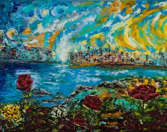 Abstract painting 'City of dreams', original oil painting, abstract art, canvas 60x80cm