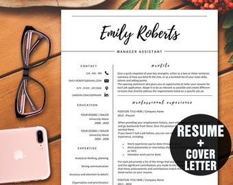 Cover Letter Modern Resume Template CV Professional Instant Download Creative Classy Style
