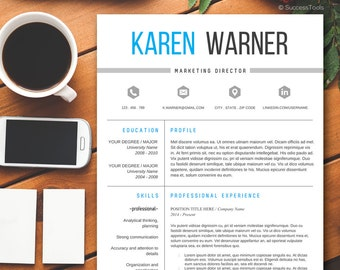 Teacher Resume Template Modern Resume Template Word Cv Etsy