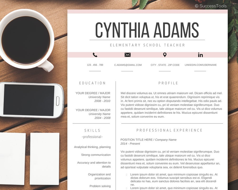 teacher resume template  modern resume template word  cv