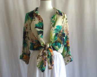 25940ec88e5071 Sheer button-up floral blouse   slouchy blousy oversized shirt