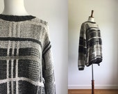 Oversized graphic plaid sweater gray