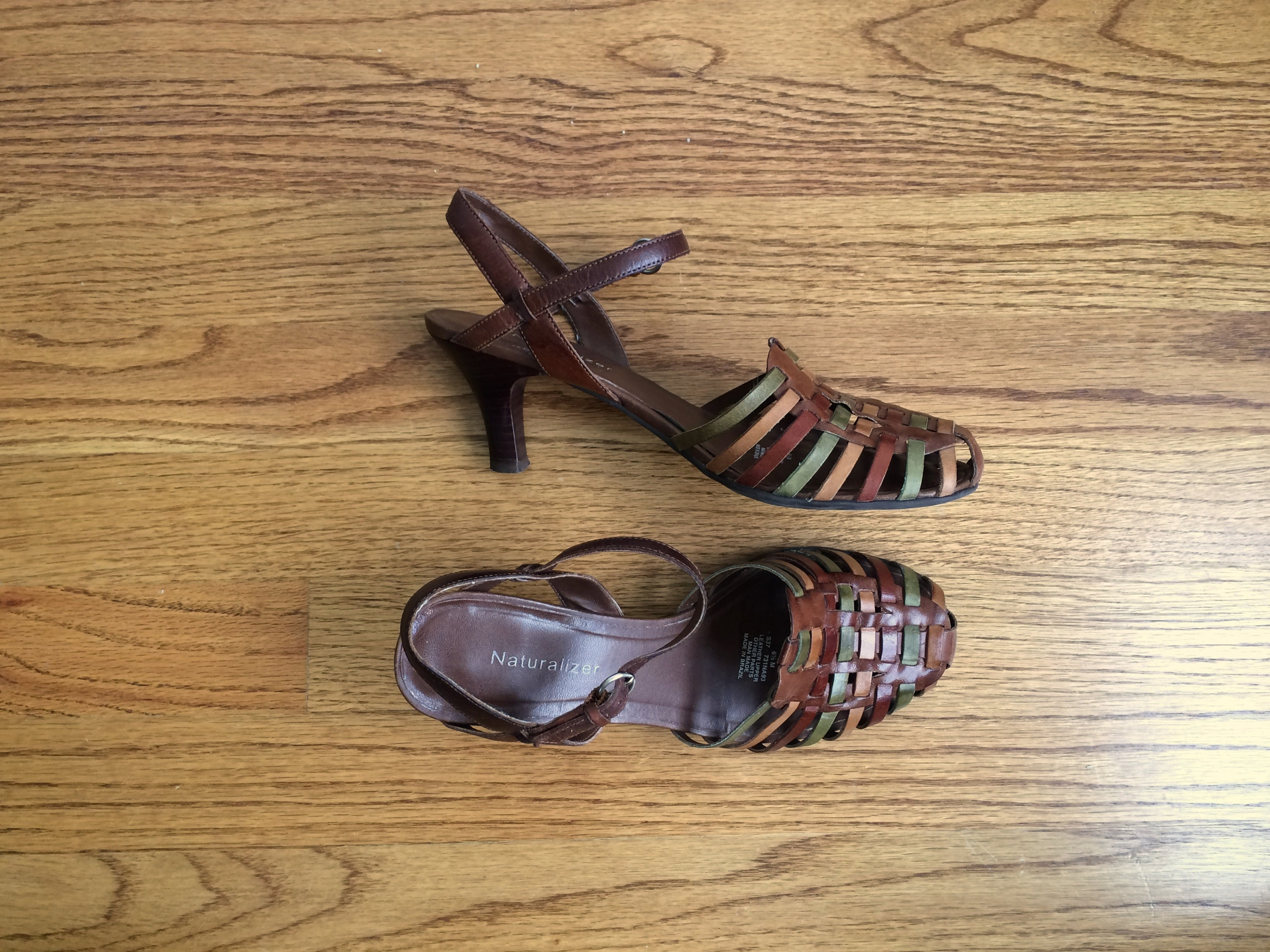 b503d57cfe77 Huarache sandal heels   brown leather strappy sandals   6.5