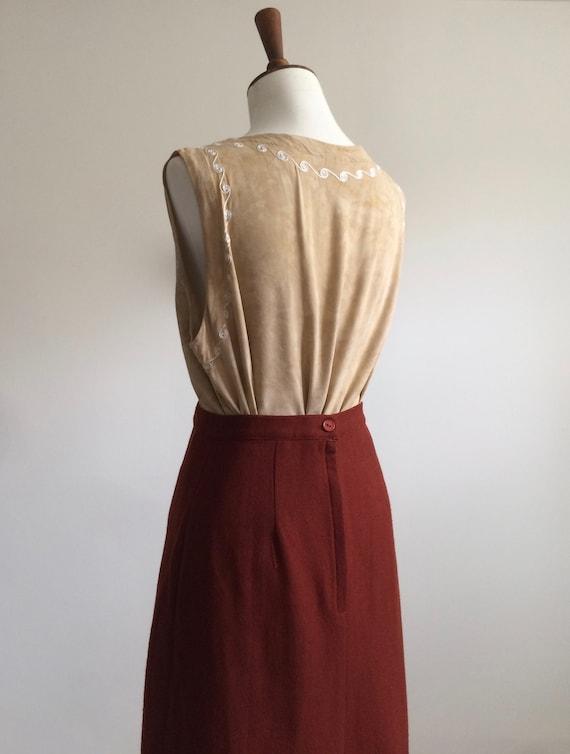 Rust wool skirt - image 6