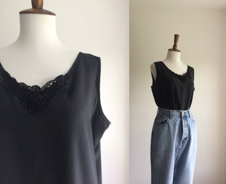 Black silky top with lace appliqué etsy