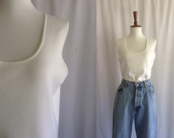 Vintage white knit sleeveless top / tank top