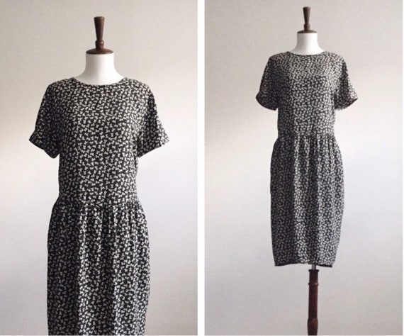 Black & white ditsy print dress