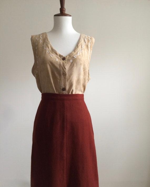 Rust wool skirt - image 2