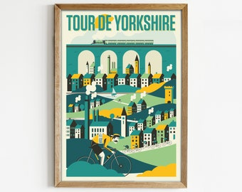 Cycling Print, Tour de Yorkshire Cycling Poster