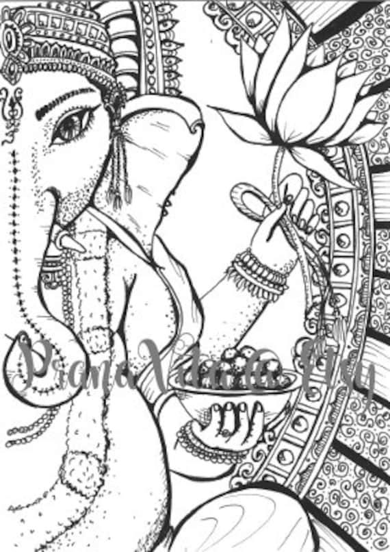 Descarga Ganesha para colorear página tinta Digital | Etsy