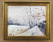 """Wintry Road- Oil Painting, 8""""x10"""""""