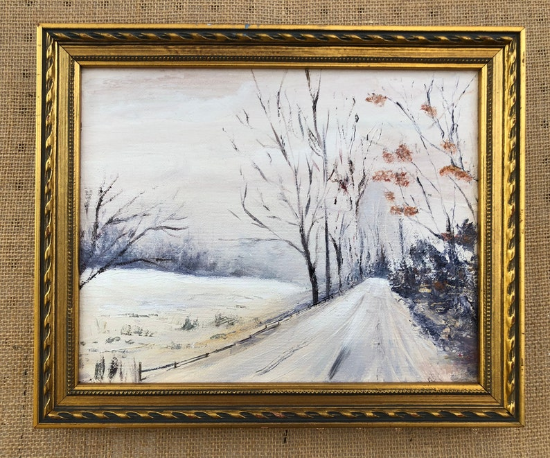 Wintry Road Oil Painting 8x10 image 0
