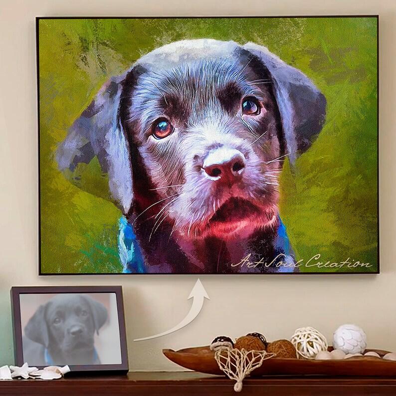 57169bb5dc60 Personalized Pet Portrait. Your Lovely Dog Photo to Portrait. | Etsy