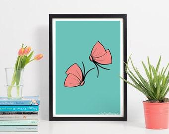 Butterfly Art Print-A4 Butterfly Wall Art-Gift for her/Women-Teen Room Art-Nursery Pictures-New Baby Girl Wall Art-Wedding Gift-Illustration