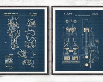 NASA Space Shuttle Poster set of 2 prints Space Nursery Boys Room Decor,Rocket Ship Decor Spaceship Theme Outer Space Print,Nasa Gift#P328