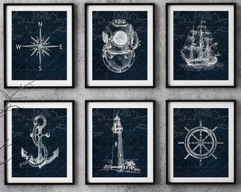 84905c470d6a2 Nautical print set, boat decor, Nautical Decor, Blue boat art, Seamen gift,  Beach house wall art, Nautical map print, Old illustration print