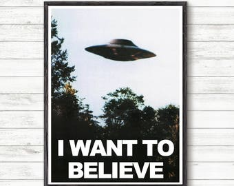 X Files I Want To Believe PosterPrint Poster Prints Ufo Fox Mulder