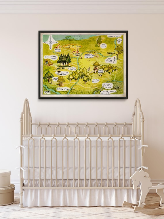 Winnie The Pooh Karte, Winnie pooh Kinderzimmer, Classic pooh, hundert  Hektar großen Wood Print, 100 Hektar großen Holz-Map, ...
