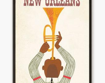 New Orleans, Travel Print, Jazz Trumpet print, Travel Poster, Vintage Poster