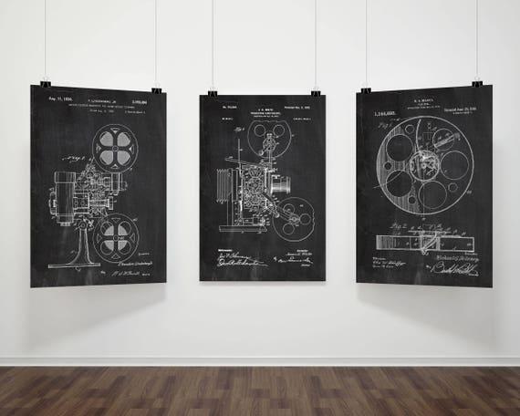 PATENT Cinema Set of 3Prints Cinema Wall Decor Film Art | Etsy