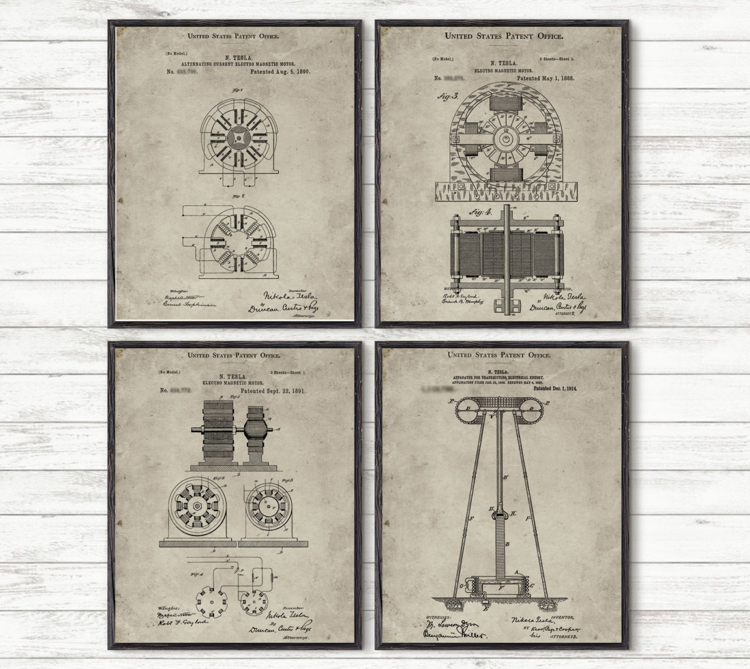 Tesla Patent Inventions Print Nikola Etsy Alternating Current Diagram Dynamo Electric Machine