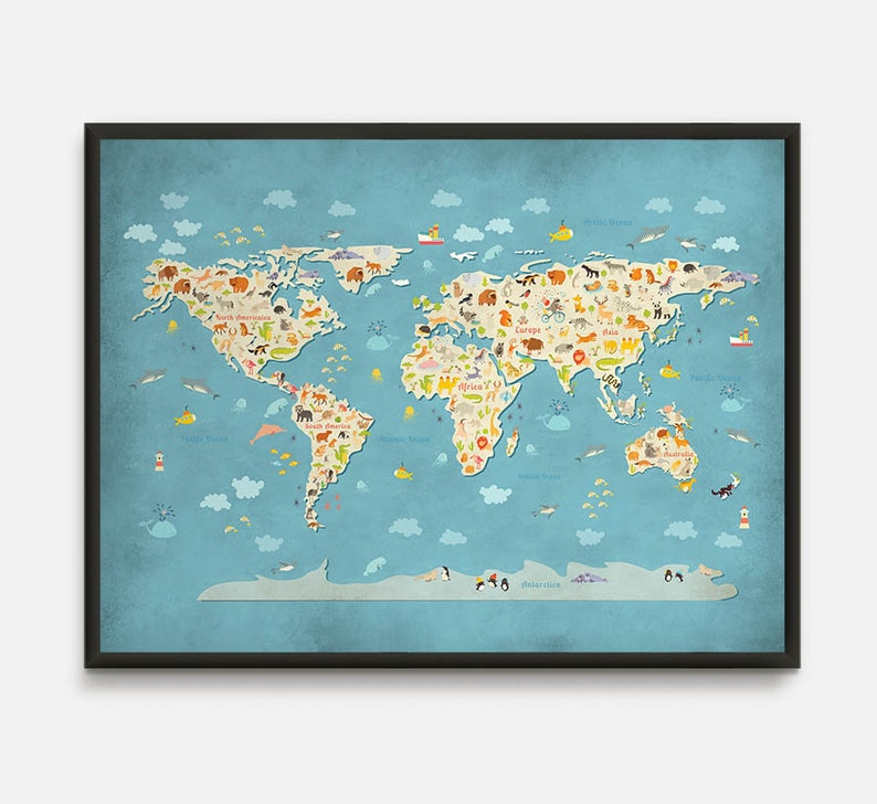 Animal World Map Animal Map World Map Nursery Kids World Etsy