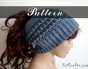 Crochet ponytail hat pattern, Messy bun hat pattern Ponytail beanie Slouchy ponytail beanie Messy bun beanie Crochet bun hat, Crochet beanie