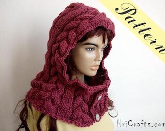 Knit cowl pattern, Button cowl, Button neck warmer, Hooded cowl pattern, Knitting pattern Knit scarf pattern Hooded neck warmer Hooded scarf