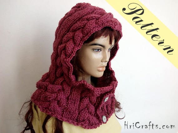 Knit Cowl Pattern Button Cowl Button Neck Warmer Hooded Etsy Fascinating Hooded Cowl Pattern