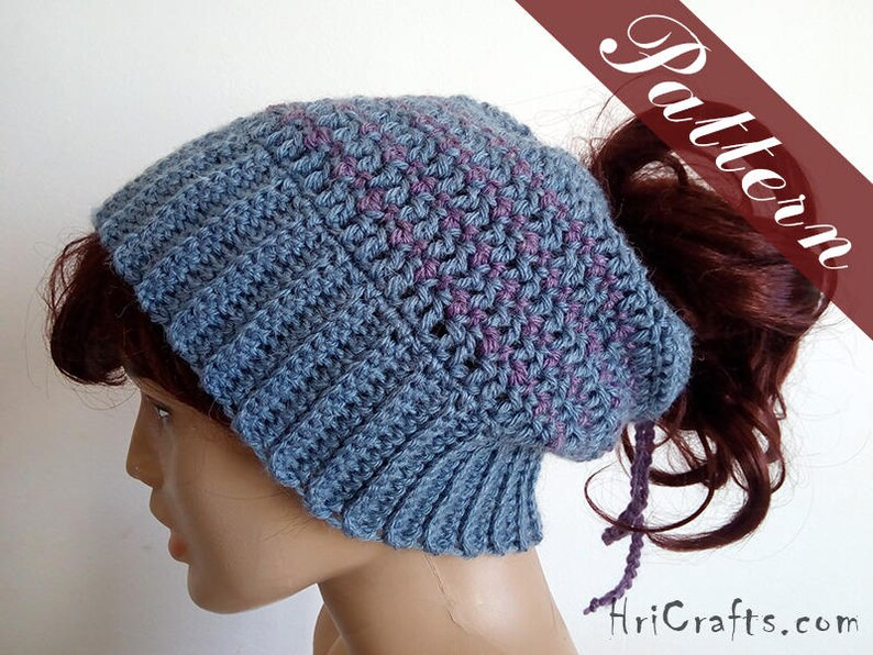 Crochet messy bun hat pattern Ponytail beanie pattern  053c35a43fe