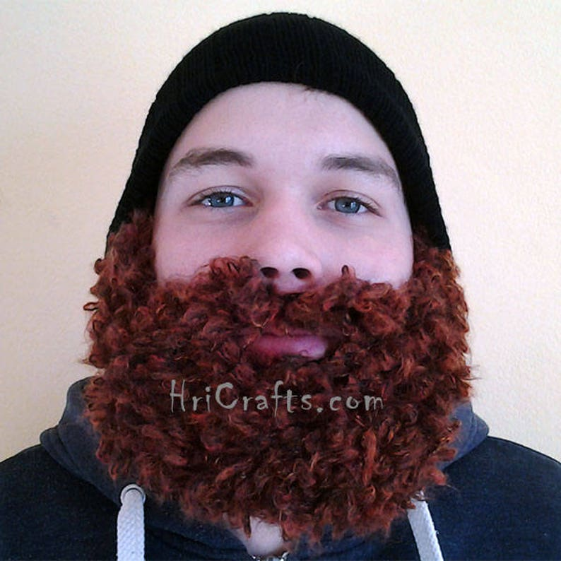 Brown Curly Beard Hat, Hand knitted Beard, Beard Cap, For Men, For Boys,  Funny Hat, Ski, Snowboard, Winter, Easily Remove or Adjust